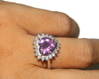 Stunning Alexandrite Ring, Sterling Silver Halo Ring, Heart Shaped Alexandrite Ring