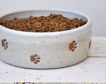 Medium dog bowl with paw prints, ceramic dog bowl, pottery dog bowl. Dog bowl, Pet Bowl, Medium dog bowl