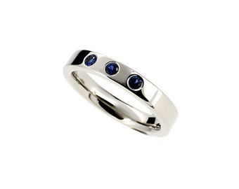 Blue sapphire ring, white gold, thin ring, sapphire wedding band, modern, promise ring, blue wedding band
