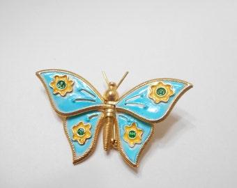 Vintage Turquoise Enamel Butterfly Brooch (8708)