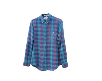 Flannel Shirt / Purple / Teal / Plaid / 1990s / Medium / Button Up / Distressed / Chest Pocket / Men's Medium