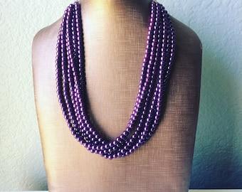 6 strand Grape Statement Necklace - Purple pearl jewelry