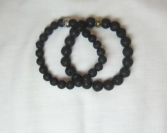 Natural Lava Rock Men's Bracelet Stretch Bracelet Solid Lava Black Jewelry Earthtone Unisex