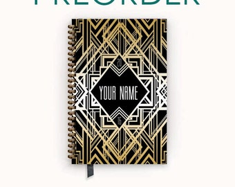 PREORDER 2016 2017 Planner Black Art Deco Personalized To Do List Spiral Bound Calendar Book