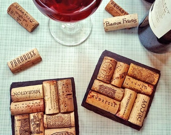 4 Wine Cork Slate Coasters - Christmas, Wedding, Engagement, Anniversary