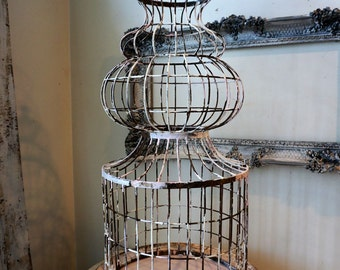 "Huge spire birdcage w/ platform antique rustic farmhouse rusty bird cage 48"" tall shabby cottage chic wedding home garden anita spero design"