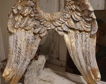 Detailed angel wings wall hanging cream white w/ gold accents shabby cottage chic ornate cherub wing home decor anita spero design