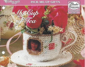My Cup Of Tea Plastic Canvas Pattern - The Needlecraft Shop - Teacup, Home Decor, Picture Frame, Photo Holder