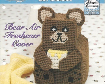 Plastic Canvas Pattern Bear Air Freshener Cover - Home Decor, Nursery Decor, Plastic Canvas Bear, Childs Room, Baby's Room