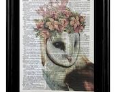 Owl Pink Crown, Barn Owl Prints, Owl Pictures, Barn Owl Prints, 8x10 Mixed Media Dictionary art, Dictionary Print, Barn Owl, Animal Humor