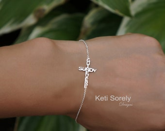 Sideways Cross Bracelet  with Two Crossing Names - Couples or Kids Names - Silver, Rose Gold, Yellow Gold