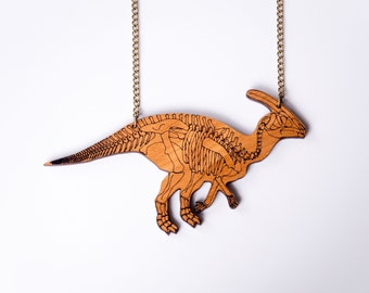 Parasaurolophus Dinosaur Skeleton Necklace. Dinosaur Bones. Dinosaur Fossil. Dinosaur Jewelery. Acrylic Plexiglass Animal Jewellery Perspex