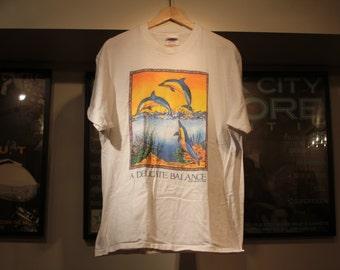 Vintage DOLPHIN Shirt 1990's Hanes Heavyweight tag 100% cotton marine ocean life