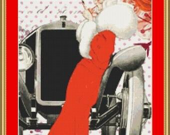 Woman In Red Cross Stitch Pattern