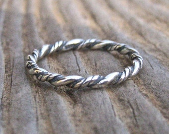 Vintage 925 Sterling Silver Twist Stacking Ring