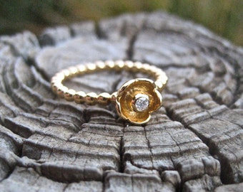 SALE 14K Yellow Gold Over 925 Sterling Silver and CZ Flower Ring