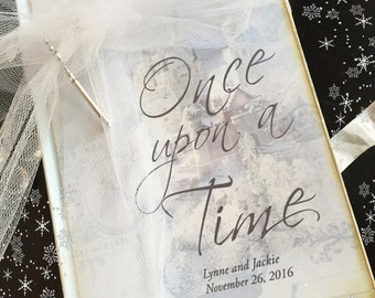 Holiday Wedding Guest book Once Upon a Time Fairy Tale Castle, vintage sign-in book