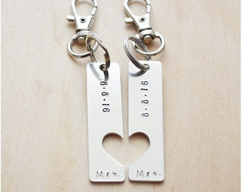 Save the Date Keychains - Wedding Date Keychains - Couples Keyrings - Her One, Her Only - LGBT Wedding - Lesbians - Gays - Marriage Equality