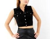 Vintage 90s Black Crop Top Vest Gina Ginelli