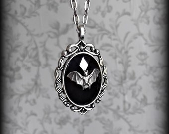 Gothic silver and black bat cameo necklace.
