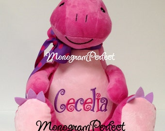 Personalized, Monogrammed Pink & Purple Dinosaur Plush Stuffed Animal, Soft Toy