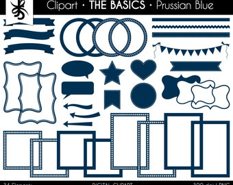 Digital Clipart-The Basics-Prussian Blue-Dark Blue-Digital Elements-Frames-Arrow-Flags-Banner-Labels-Ribbon-Border-Instant Download Clip Art