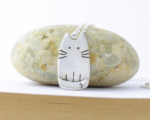 Cute Cat Necklace - Animal Pet Jewelry - Silver Cat Jewellery - Cute Animals - Birthday Gift for Her - Kitty Necklace - Cat Lover Gift