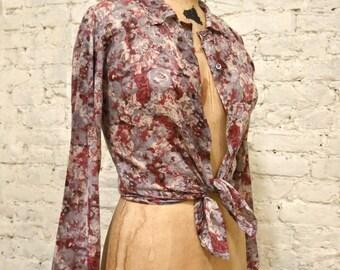 80s Agnes B Paris Cotton Floral Blouse
