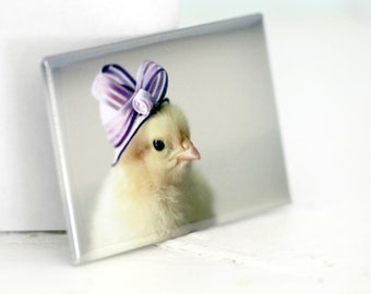 Chicks in Hats Chicken in A Purple Ribboned Hat Refrigerator Magnet Baby Animals