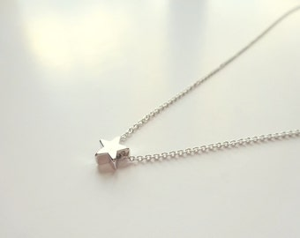 Simple Silver Necklace Silver Necklace Star Necklace Silver Jewelry Star Jewelry Bridesmaid Jewelry Silver Star Necklace Bridesmaid Necklace