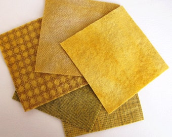 "Hand Dyed Felted Wool Fabric in Honey, Yellow, and Gold  5"" x 5""  Wool Charm Pack of 5"