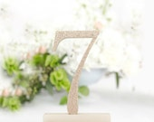 1-18 Champagne Gold Glittered Table Numbers