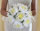 wedding flower lotus bouquet water lily white lotus rustic flowers wedding bouquet paper flower decor bridal lotus paper flowers lotus decor