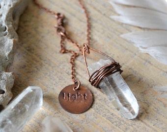 crystal jewelry - raw quartz point crystal necklace - healing crystal - raw quartz necklace - love and light charm - yoga jewelry