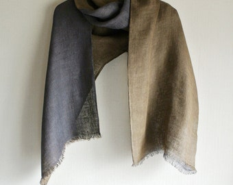 Natural Logwood and Bayberry dyed double-faced Linen scarf