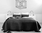 Optical Illusion - Mobius Cube vinyl wall decal geometric art removable wall decor