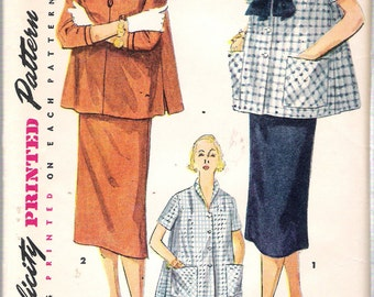 """Vintage 1953 Simplicity 4444 Maternity Two Piece Suit Dress Sewing Pattern Size 12 Bust 30"""""""