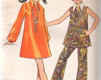 """Vintage 1969 Butterick 5400 Girl's One-Piece Dress or Top & Pants Sewing Pattern Size 10 Breast 28 1/2"""""""