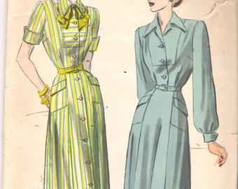 "Vintage 1940's Advance 4883 Shirtdress or Shirtwaist Dress Sewing Pattern Size 14 Bust 32"""