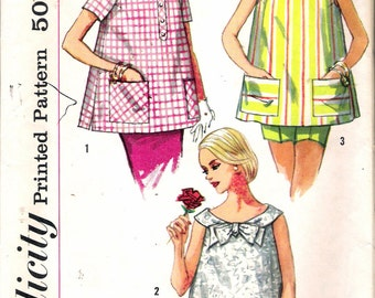 """Vintage 1958 Simplicity 2554 Maternity Tops Sewing Pattern Size 14 Bust 34"""""""