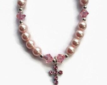 Swarovski Pink Pearl Bracelet,  Pink Cross Bracelet, Limited Edition