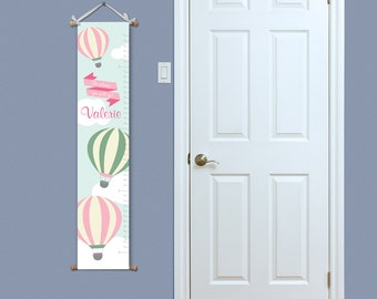 ON SALE Hot Air Balloon Nursery Decor - Custom Growth Chart -  Personalized Growth Chart - Kids Height Chart - New Baby Gift Ideas - Christm