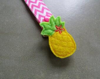 Pacifier Leash Paci Clip - Pineapple Feltie Metal Pacifier Clip