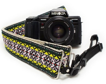 Hemp Camera Strap - Green Psychedelic Woven Ribbon on Organic Hemp Webbing and Webbing ends - works with DSLR, SLR and Manual Cameras