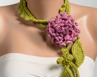 Green and Pink lariat scarf. Crochet necklace. Women lariat necklace.