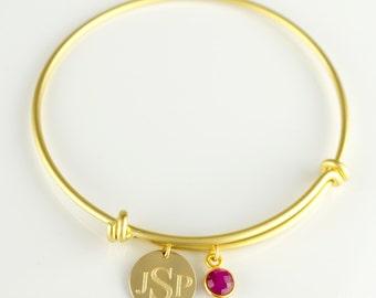 Personalized Monogram bangle, birthstone bangle bracelet, Choose Your Initials bangle, Personalized Bracelet, Gold Bangle bridesmaid gift