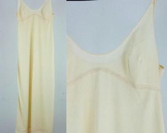Vintage Ivory Maxi Slip Dress / Small