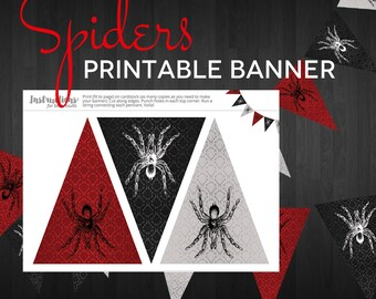 Party Printable Banner - Spiders Halloween Pennant Bunting Banner Spider - Instant Download