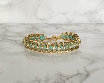 Mint Green Woven Chain and Rhinestone Bracelet