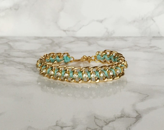 Mint Green Woven Chain and Rhinestone Bracelet